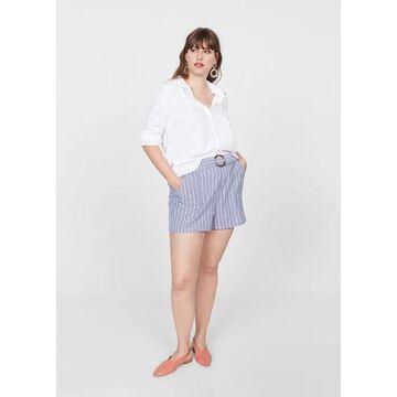 Violeta BY MANGO - Cotton striped shorts dark navy - XS - Plus sizes