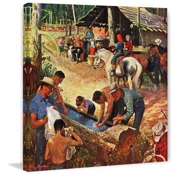Marmont Hill - Handmade Dude Ranch Meal Painting Print on Canvas