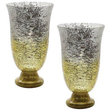 Lazy Susan Lemon Ombre Flared Vases, Set Of 2
