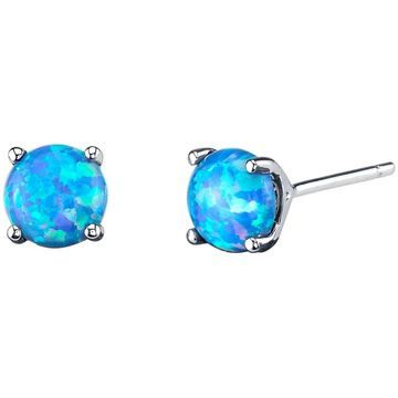 14K Oravo White Gold Round Cut Created Blue Opal Stud Earrings