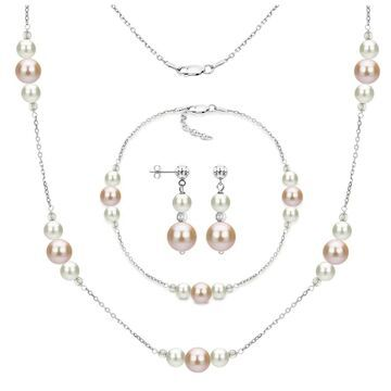 DaVonna Sterling Silver White and Pink Freshwater Pearl Necklace Bracelet and Stud Dangle Earring Set (White)