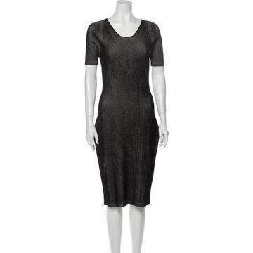 Striped Midi Length Dress w/ Tags Black