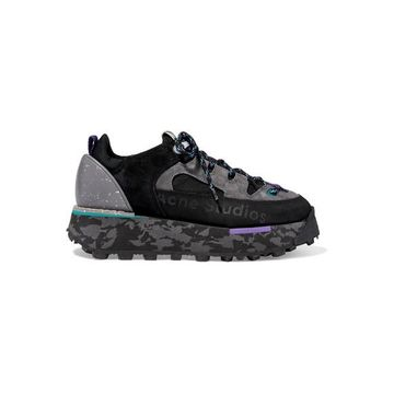 Acne Studios - Printed Leather, Suede And Neoprene Sneakers - Black