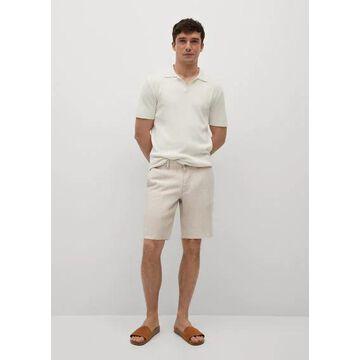 MANGO MAN - 100% linen shorts ecru - 32 - Men