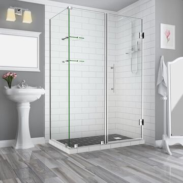 Aston Bromley GS 72-in H x 58.25-in to 59.25-in W Frameless Hinged Shower Door (Clear Glass) Stainless Steel | SEN962EZSS59233610