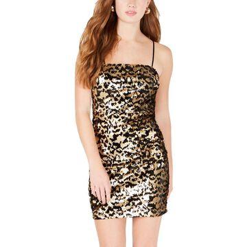 Trixxi Womens Juniors Sequined Animal Print Party Dress