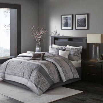 Home Essence Harmony 7 Piece Woven Jacquard Comforter Bedding Set