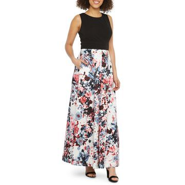 R & M Richards Sleeveless Floral Evening Gown