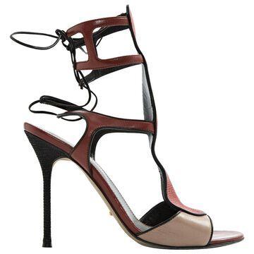 Sergio Rossi Burgundy Leather Sandals
