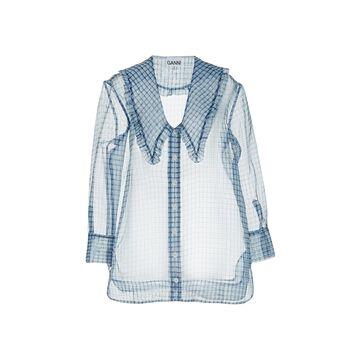 Ganni - Women's Organza Shirt - Blue - Moda Operandi