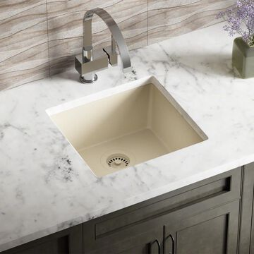 MR Direct Dual-mount 17.75-in x 16.88-in Beige Single Bowl Kitchen Sink in Off-White | 805-BE-CST