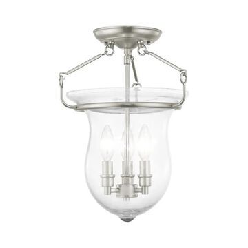 Livex Lighting 50295 Canterbury 3 Light Semi Flush Ceiling Fixture Brushed Nickel Indoor Lighting Ceiling Fixtures Semi-Flush