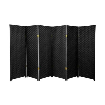 Oriental Furniture 6-Panel Black Cellulose Fiber Folding Transitional Style Room Divider | SS4FIBER-BLK-6P