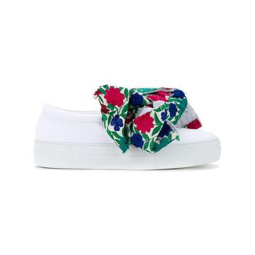 floral bow slip-on sneakers