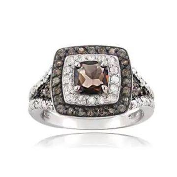Glitzy Rocks Sterling Silver White and Champagne Diamond Smokey Quartz Ring (6)