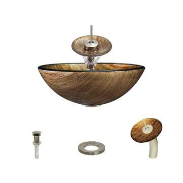 MR Direct Gold, Bronze Tempered Glass Vessel Round Bathroom Sink with Faucet (Drain Included) (16.5-in x 16.5-in)