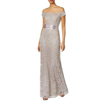 Alex Evenings Womens Evening Dress Lace Sequined