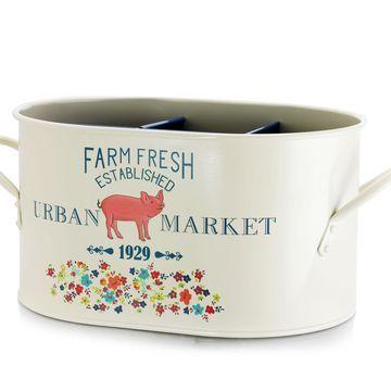 Urban Market Life on the Farm 12 Inch Steel Flatware Caddy