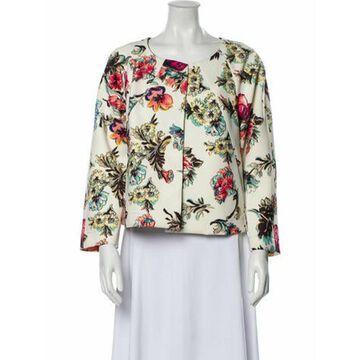 Floral Print Evening Jacket White