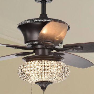 Vasilisa 52-Inch 5-Blade Ceiling Fan Crystal Shade Brown Finish (2 Color Option Blades)