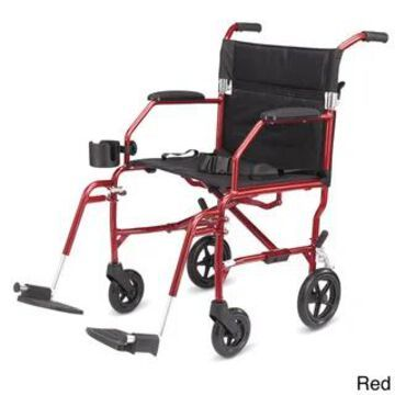 Medline Super Lightweight Transport Chair (Red)