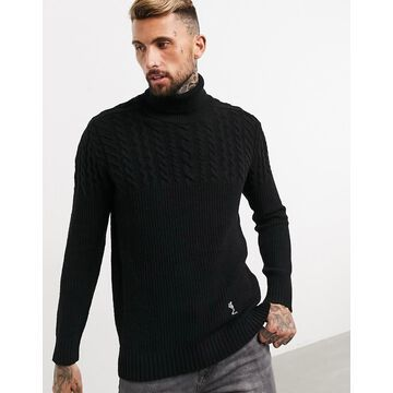 Religion cable knit roll neck sweater in black