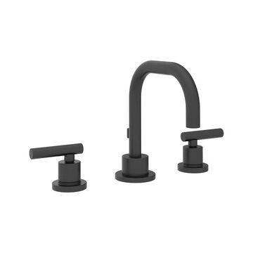 Symmons Dia Matte Black 2-handle Widespread WaterSense Bathroom Sink Faucet Stainless Steel
