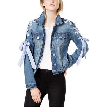 maison Jules Womens Laceup Denim Jacket