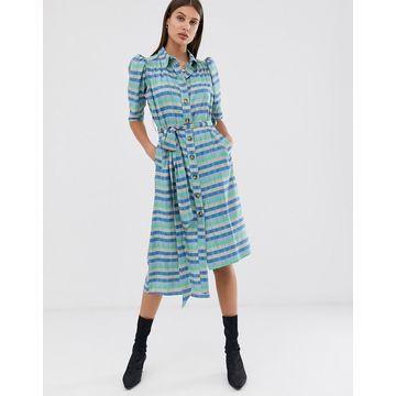 ASOS WHITE stripe belted shirt dress-Multi