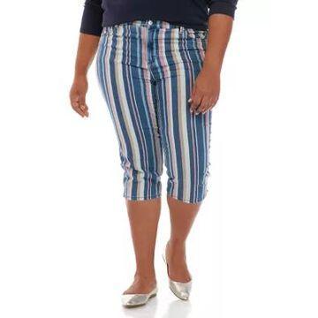 Gloria Vanderbilt Women's Plus Size Multi Stripe Amanda Denim Capris - -