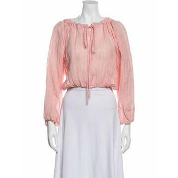 Linen Bateau Neckline Crop Top Pink
