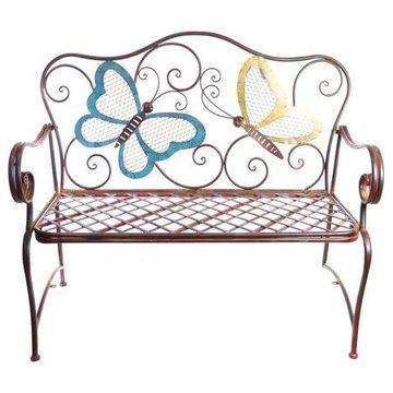 Alpine Metal Garden Bench w/ Colored Butterflies Design, 39 Inch Tall