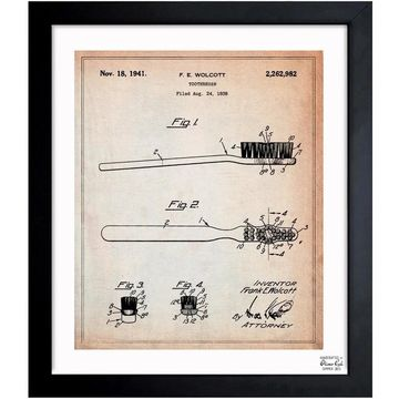 Oliver Gal 'ToothBrush 1941' Framed Blueprint Art
