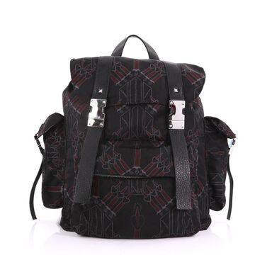 Valentino Black Cloth Backpacks