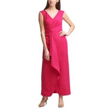 Eliza J Petite Sleeveless Wrap-Front Scuba Gown