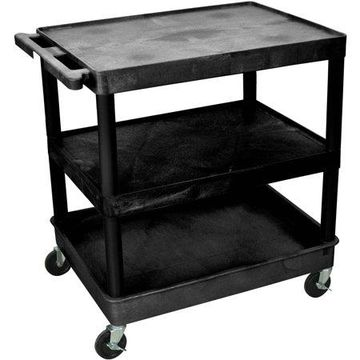 Luxor Large Flat Top and Middle Shelves and Bottom Tub Shelf Cart