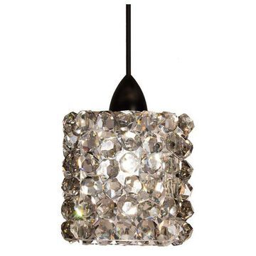 WAC Lighting Mini Haven LED 1 Light Pendant, Black Ice Crystal, Dark B