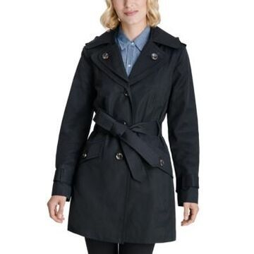 London Fog Petite Hooded Belted Water-Resistant Trench Coat, Created for Macy's