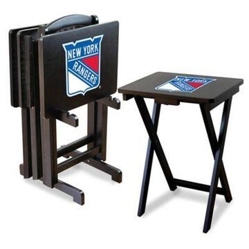 NHL New York Rangers TV Tray Table Set with Storage Rack (Set of 4)