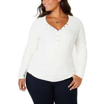 Planet Gold Womens Plus Ribbed Long Sleeves Pullover Top