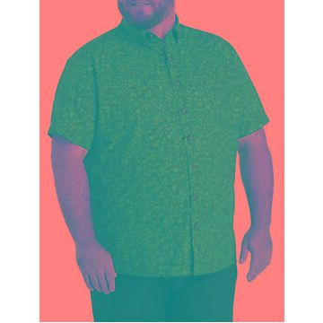 Big & Tall Harbor Bay Easy-Care Twilight Print Sport Shirt - Twilight Blue