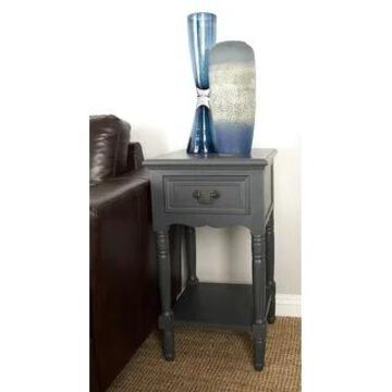 Farmhouse 29 Inch Square Wooden Side Table with Drawer by Studio 350