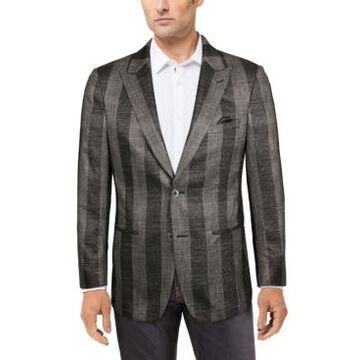 Tallia Men's Slim-Fit Gray/Black Metallic Plaid Sport Coat