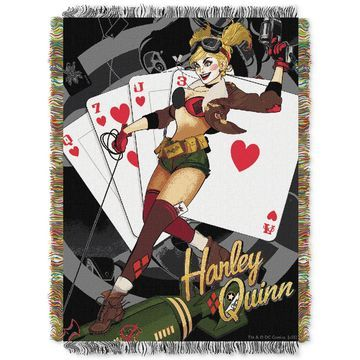 Harley Quinn Clown Triple Woven Tapestry Throw