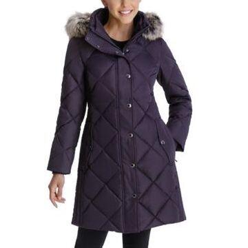 London Fog Faux-Fur-Trim Hooded Down Puffer Coat