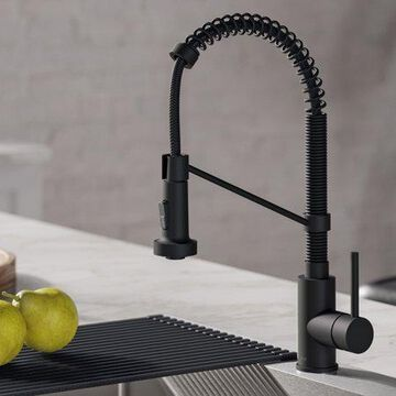 Kraus Bolden Single Handle 18-Inch Commercial Kitchen Faucet with Soap Dispenser in Matte Black Finish