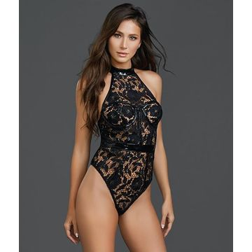 Dreamgirl L Black Lace And Shine Teddy