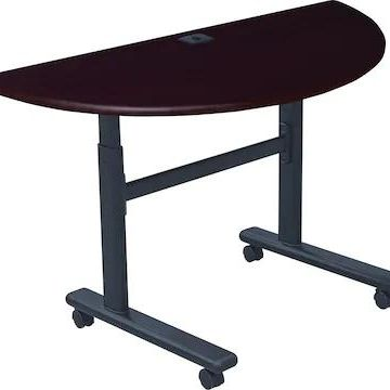 Balt Half-Round Height-Adjustable Sit-Stand Flip-Top Training Table, Mahogany, 28 1/2 - 45H x 48W x | Quill
