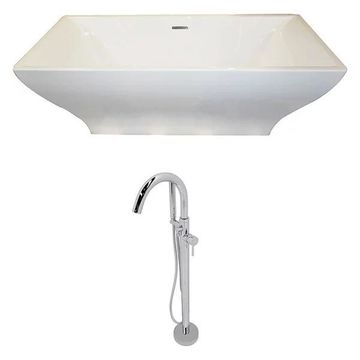 ANZZI Vision 5.9 ft. Acrylic Freestanding Bathtub and Kros Faucet