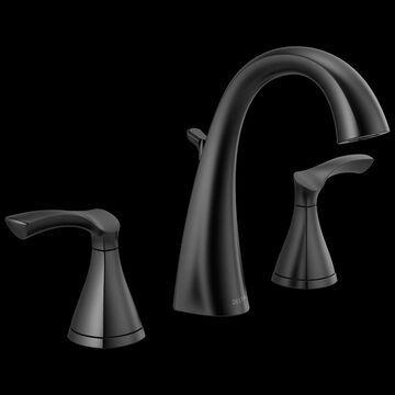 Delta Sandover Matte Black 2-handle Widespread WaterSense Bathroom Sink Faucet with Drain | 35748LF-BL